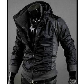 Los Nuevos Hombres Slim Fit Sexy Sudaderas Abrigos Chaquetas Doble  Cremallera 2 Colores 4 Superficie Negro 6132531ee54e6