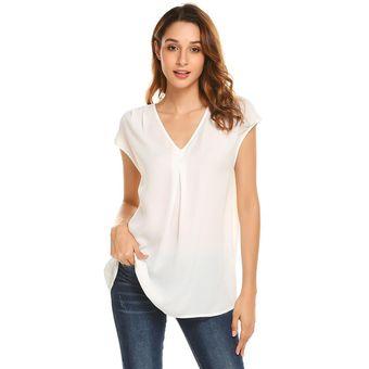 db5f5a56ad75f Compra Camisa Cuello V Oem Para Mujer-Blanco online