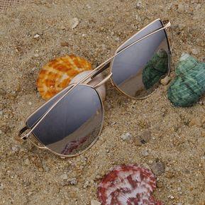 6c52c4fd23 Gafas De Sol Del Ojo De Gato Del Marco Del Oro De Mercurio Blanco  Reflectante E