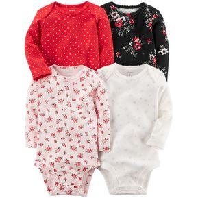 Carter s 4 Bodysuits De Algodón Para Bebé Niña - Multicolor 967e1b18d0ea