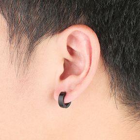 5ac23f10877f EY 1 Par único Fresco Para Hombre Aro Del Acero Inoxidable Piercing Studs  Oído Pendiente Negro