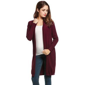ce874c6fb9 Compra Suéter de Punto Frente Abierto para Mujer - Rojo de vino ...