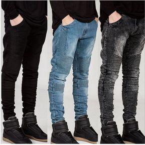 Para Jeans Hiphop Jeans Ajustados Hombres Hombre Pitillo Para Azul Skinny q6ZUfvq