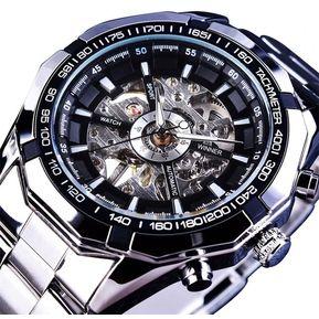 Reloj Winner Automático Hombre Diseño Skeleton – Plateado Con Negro 56fedfa59e4