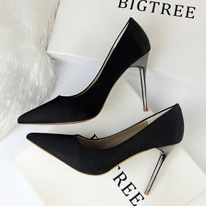 ec282366 Zapatos simples de moda para mujer Zapatos de tacón alto de satén de tacón  alto