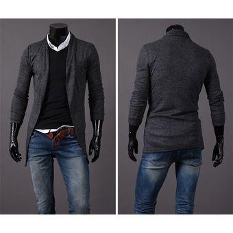 Compra NewLong Cardigan chaqueta de manga larga para hombre delgado ... d6079066848b