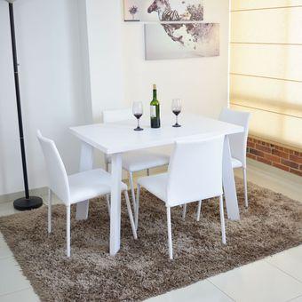 Comedor Lugo 4 Puestos Blanco- Sillas 4 Blanco