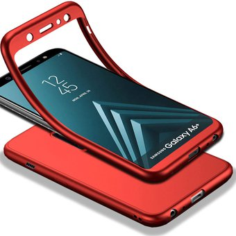 última tecnología 60% de descuento Precio 50% Funda De Completo 360 Para Samsung Galaxy A6 Plus A605-Rojo