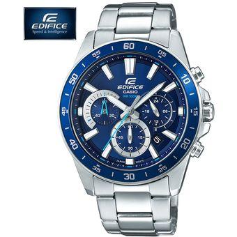 853ca13bfe81 Reloj Casio Edifice EFV-570D-2AV Con Numero de Serie Cronometro - Plateado  Azul