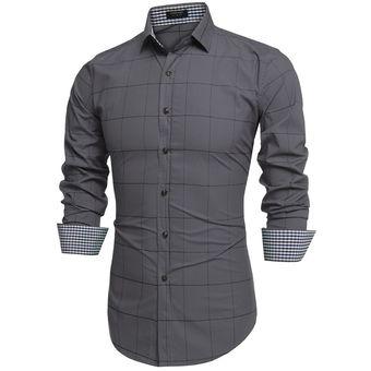 bc7d673bd Compra Camisa Cuadros Con Manga Larga Para Hombre-Gris online ...