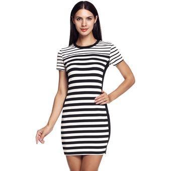 Vestido casual rayas blanco y negro