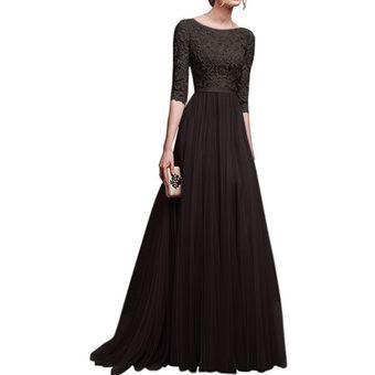 talla 40 71936 f405a Vestido Casual Generico Gasa Vestido Falda larga - Negro