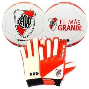 Kit Futbol River Plate Pelota Guantes Arquero Drb Infantil ffb7fc62dacba