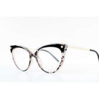 6611d8d793 Armazones para Lentes Opticos estilo Cat Eye Negros con detalles Animal  Print