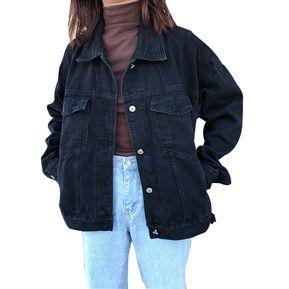 59c368d6ee782 Chaqueta de mezclilla negra para mujer Chaqueta suelta Boyfriend Jeans