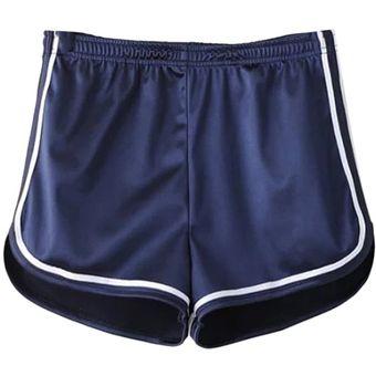 8b6352934f Moda deportiva femenina Shorts de cintura alta brillante Casual flojos  pantalones cortos Blue