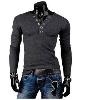 883a77e91044f Compra T-shirt Camiseta Manga larga V-cuello para hombres-Gris ...