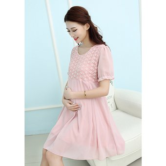 751b9e7c4 Vestido Mangas Corta De Mujer Embarazada De Cuello Redondo De Gasa De  Encaje -Rosa