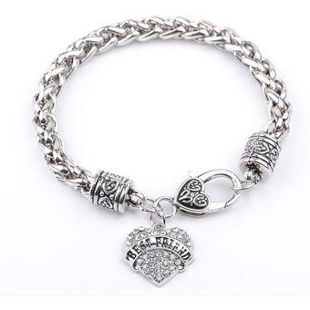 de0807ab7054 Compra ModaPulsera de moda para mujer con forma de corazón-plateado ...