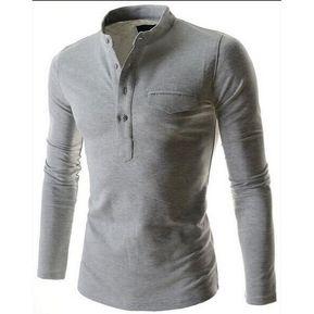 Collar Del Soporte Del Botón-abajo De Los Hombres Embolsa La Camisa De Manga  Larga 7c38f66de130c