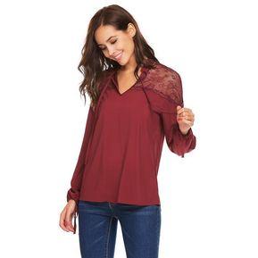 960e3a4590 Ocasional Blusa Del Collar Del Soporte Del Remiendo Del Cordón Para Mujer-Rojo  De Vino