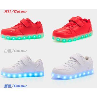 4e960122 Compra Zapatos Para Niños Con Luces LED Colorido Calzado Casual-rojo ...