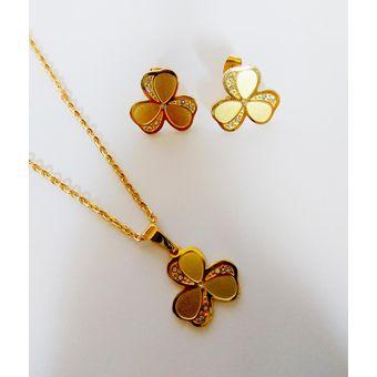 f9191d1860b9 La Tienda 88 - Set De Collar Y Aretes Acero Trebol Strass Enchapado Oro  Amarillo -