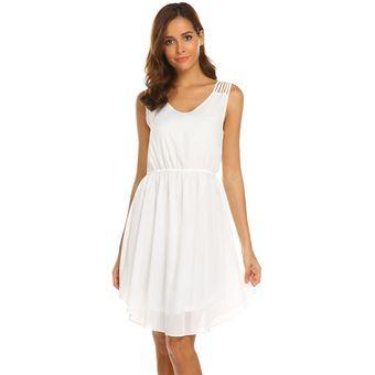 6e2eb874b72 Compra Vestido De Gasa Plisada Sin Mangas Con Cuello En V -Blanco ...