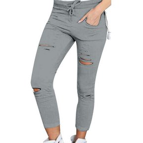 Pantalones Slim Para Mujer Con Verdugón De Tela Algodón - Gris 65e74170d0d2