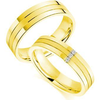 5fc7a0be5532 Argollas De Matrimonio Fashion Boutique De México Modelo A22 De Oro Amarillo  De 14K Con 3