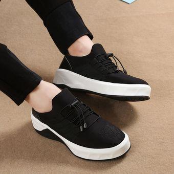 9dc157d644bd4 Suela Gruesa Zapatos De Deportes De Los Hombres Tenis Tejido Elástico De  Lycra Casual -Negro