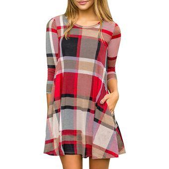 e253e456f Vestido Casual E-Thinker de estampados cuadros E-Thinker para mujer - Rojo