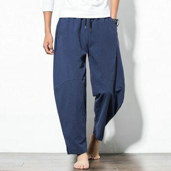 Pantalones Sueltos De Algodon Y Lino Para Hombre Pantalones Casuales De Verano Para Hombre Pantalones De Color Liso Pantalones De Talla Grande M Bq Dark Blue Linio Peru Ge582fa1mozb3lpe