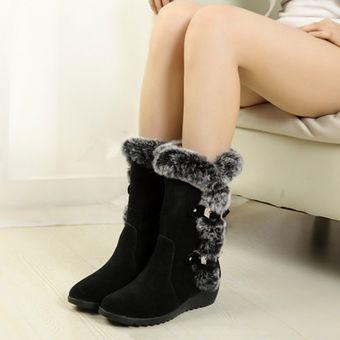 77a4d931 EY 2017 La Mujer nieve Fur arranque cálido invierno Ronda Toe Rodillas  zapatos antideslizantes-Negro