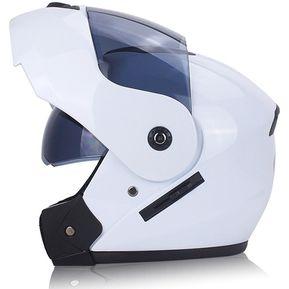 Casco moto doble lente casco abierto-Blanco 62dd25bc2707