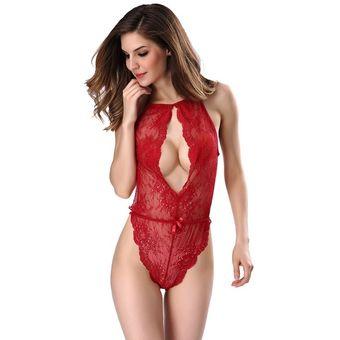2977d348c8 Las mujeres sexy lingerie Lace dormir encantadoras señoras vendaje disfraces  eróticos Rojo