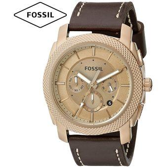 5b93c760ca86 Reloj Fossil Machine FS5075 Cronometro Acero Inox Correa De Cuero - Marrón  Dorado