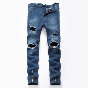 Pantalones Vaqueros Rasgados Para Hombres Slim Fit Joggers De Mezclilla Azul Claro Pantalones Desgastados Desgastados Masculinos Azul Linio Colombia Oe189fa12ut3llco