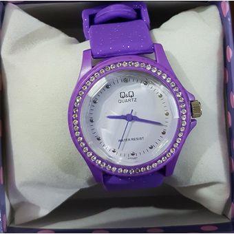 29589b8699c3 Agotado Reloj Q Q QQ QyQ Original Deportivo Para Mujer MD002 Diamantes  Morado