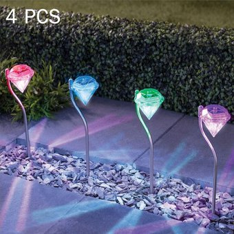 Compra A108 4 Pcs Led Rgb Luces Solares Jardin Paisaje Exterior Path