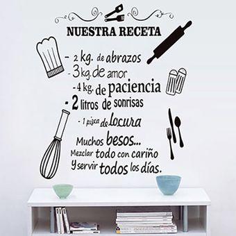 Vinilo-Diseño Nuestra receta-Negro-Sticker-Pegatina-Cocina-Viniles