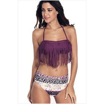 d7756a0d20f8 Trajes de baño Bikini de 2 piezas con Flecos estilo Bohemia y Americano  -Purpura
