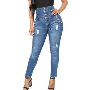 ee7556db56 Jeans rasgados para mujer Tallas grandes y cintura alta Jeans