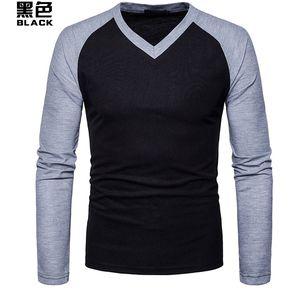 56ffe5263b Camiseta Casual De Manga Larga Con Cuello En Pico De Los Hombres  Nuevos-Negro