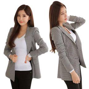 62992aca4 Moda De Manga Larga Trabajo Cuadros Blazers Para Mujeres