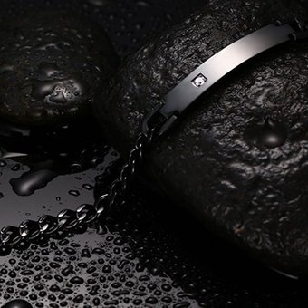 86adcfd15f83 Bracelet Pulsera Swarovski Elements Brazalete De Diamantes De La Moda  Hombres Negro