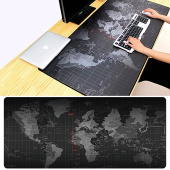 Anti-Slip World Map Pattern Soft Rubber Game Mouse Pad Keyboard Mat