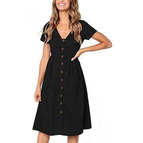 Vestido Casual E-Thinker collar de forma V y botón para mujer - Negro 09f6aa554319