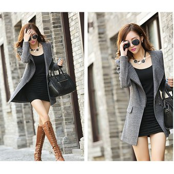 07a1ef03a89fd Abrigo De Lana De Cachemira De Manga Larga Slim Fashion Para Mujer -gris
