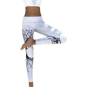 17d916f7af EY Elasticidad Deportiva Femenina Pantalones De Yoga Leotardos Leggings  Sportswear Ejecutando Pantalones-Blanco